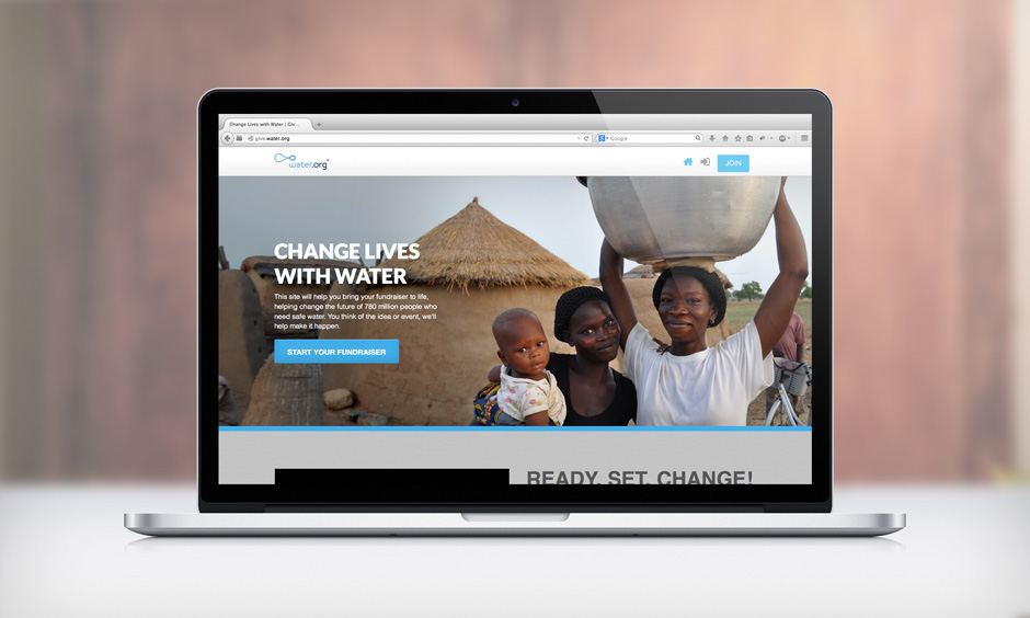 Home screen for Give.Water.org